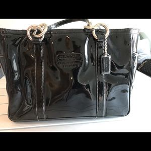 Coach black patent leather tote